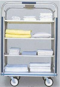 4 Shelf Open Aluminum Linen Cart - 30in W