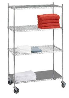 4 Shelf Wire Linen Transport Cart w/ Solid Bottom Shelf - 18in W