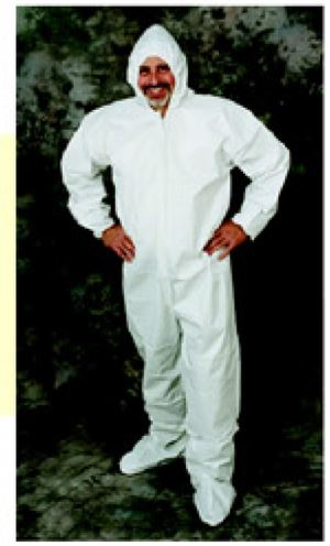 Total liquid-guard coverall pulled hood, safe grip boot covers, elastic cuffs