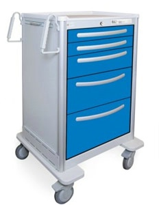 5 Drawer Extra Tall Lightweight Aluminum Anesthesia Cart
