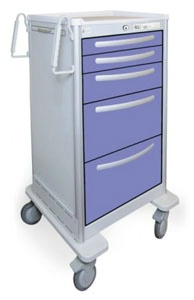 5 Drawer Extra Tall Lightweight Aluminum Bedside/Slim Cart