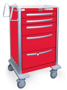 5 Drawer Extra Tall Lightweight Aluminum Crash Cart