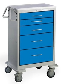 5 Drawer Extra Tall Steel Anesthesia Cart