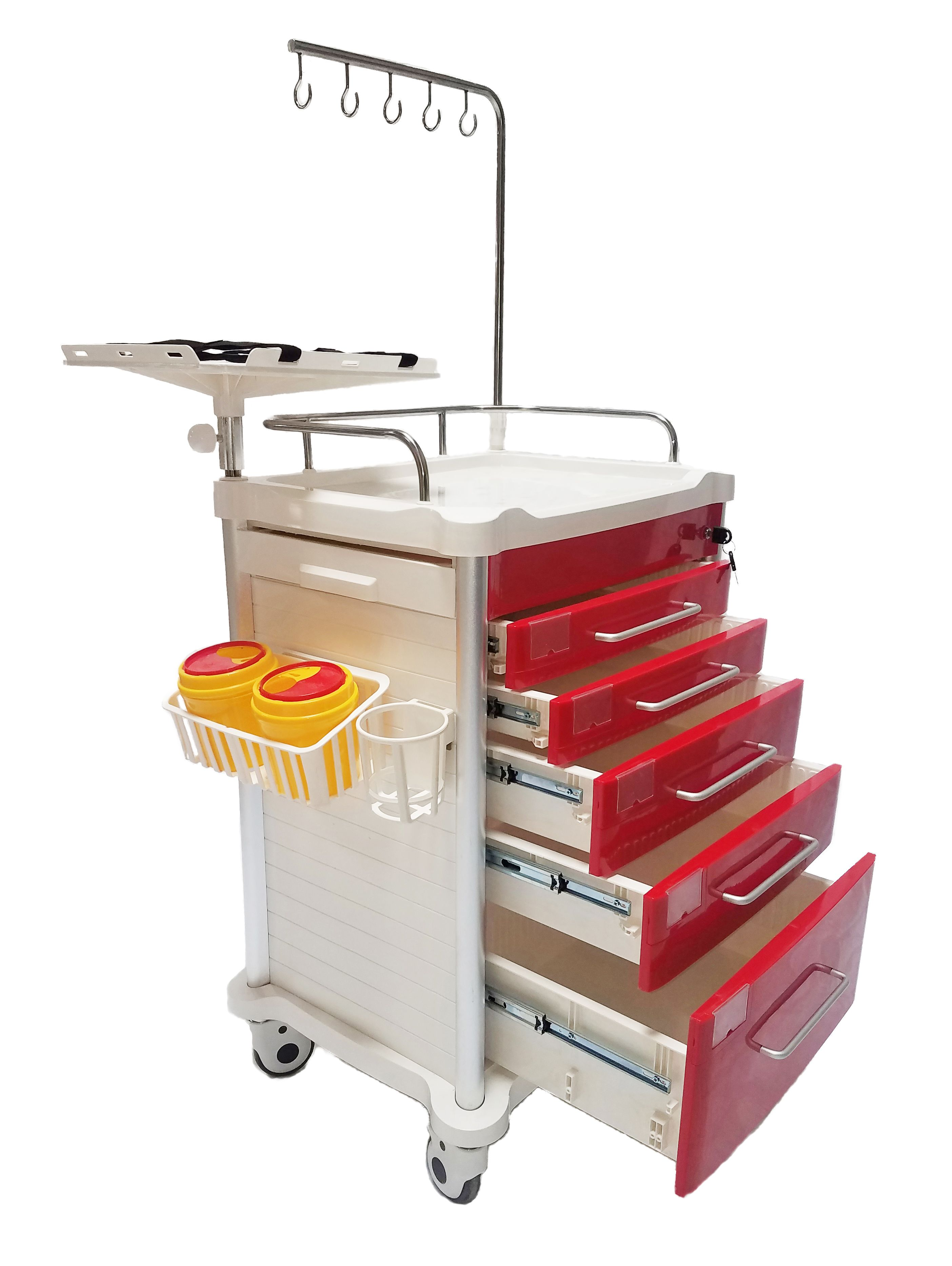 5 Drawer Lightweight Crash Cart with Accessory Package