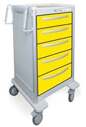 5 Drawer Slim Extra Tall Lightweight Aluminum Isolation Cart