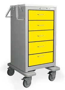 5 Drawer Slim Extra Tall Steel Isolation Cart