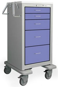 5 Drawer Slim Extra Tall Steel Treatment Cart