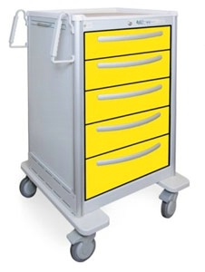5 Drawer Slim Medium Lightweight Aluminum Isolation Cart