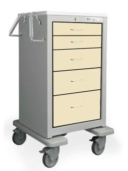 5 Drawer Slim Tall Steel Treatment Cart