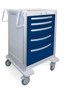 5 Drawer Tall Lightweight Aluminum Anesthesia Cart
