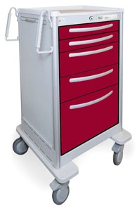 5 Drawer Tall Lightweight Aluminum Bedside/Slim Cart