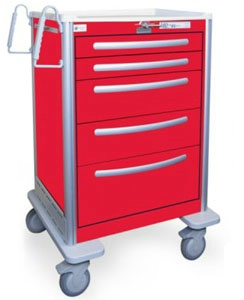 5 Drawer Tall Lightweight Aluminum Crash Cart