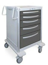 5 Drawer Tall Lightweight Aluminum Treatment Cart