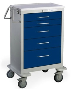 5 Drawer Tall Steel Anesthesia Cart
