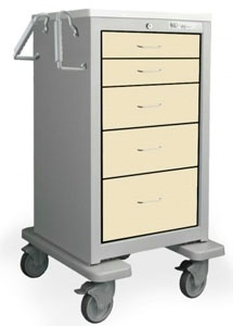5 Drawer Tall Steel BedsideSlim Cart