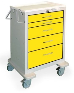 5 Drawer Tall Steel Isolation Cart