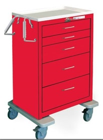 5 Drawer Extra Tall Steel Crash Cart