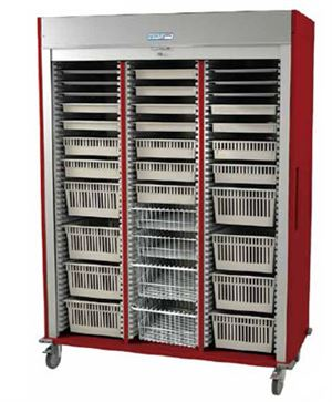 Triple Column Mobile Cardiology Cart Tambour Door