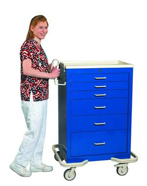6 Drawer Aluminum Mobile Workstation w/ Single Key Lock