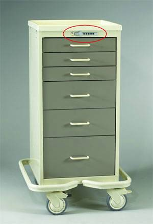 6 Drawer Aluminum Tower w/ Push Button Lock