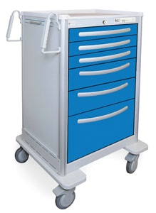 6 Drawer Extra Tall Lightweight Aluminum Anesthesia Cart