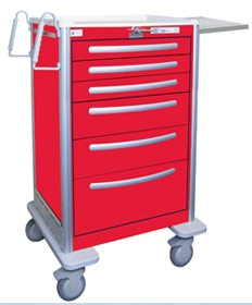 6 Drawer Extra Tall Lightweight Aluminum Crash Cart