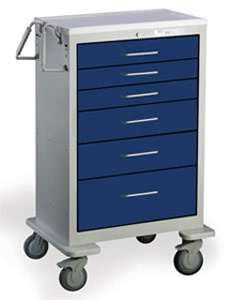6 Drawer Extra Tall Steel Anesthesia Cart