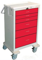 6 Drawer Extra Tall Steel Crash Cart