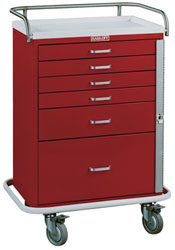 6 Drawer Tall Emergency Cart Standard Package