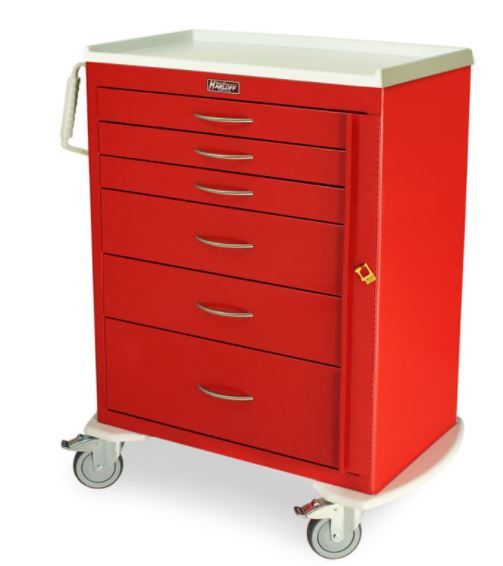 6 Drawer Tall Emergency Crash Cart Breakaway Lock