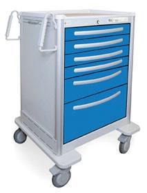 6 Drawer Tall Lightweight Aluminum Anesthesia Cart