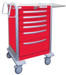 6 Drawer Tall Lightweight Aluminum Crash Cart