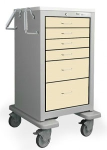 6 Drawer Tall Steel Bedside/Slim Cart