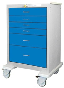 6 Drawer Tall Steel Crash Cart