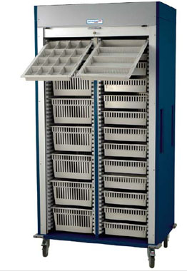 Preconfigured Double Column Medical Storage Cart Tambour Door