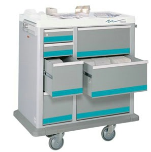 7 Drawer Full Sized Medication Punch Card Cart, 500 Cards