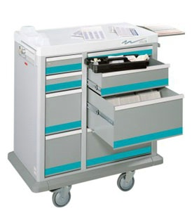 8 Drawer Full Sized Medication Punch Card Cart, 400 Cards
