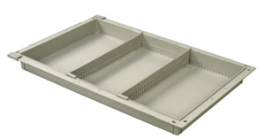 2in Gray Tray with 2 Short Dividers