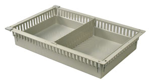 4in Gray Tray with 1 Short Divider