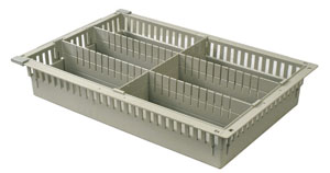 4in Gray Tray with 2 Long and 1 Short Dividers