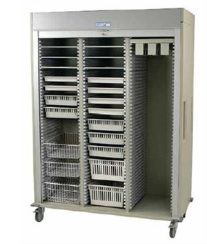 Triple Column Catheter Cart Key Locking Roll-up Tambour Door