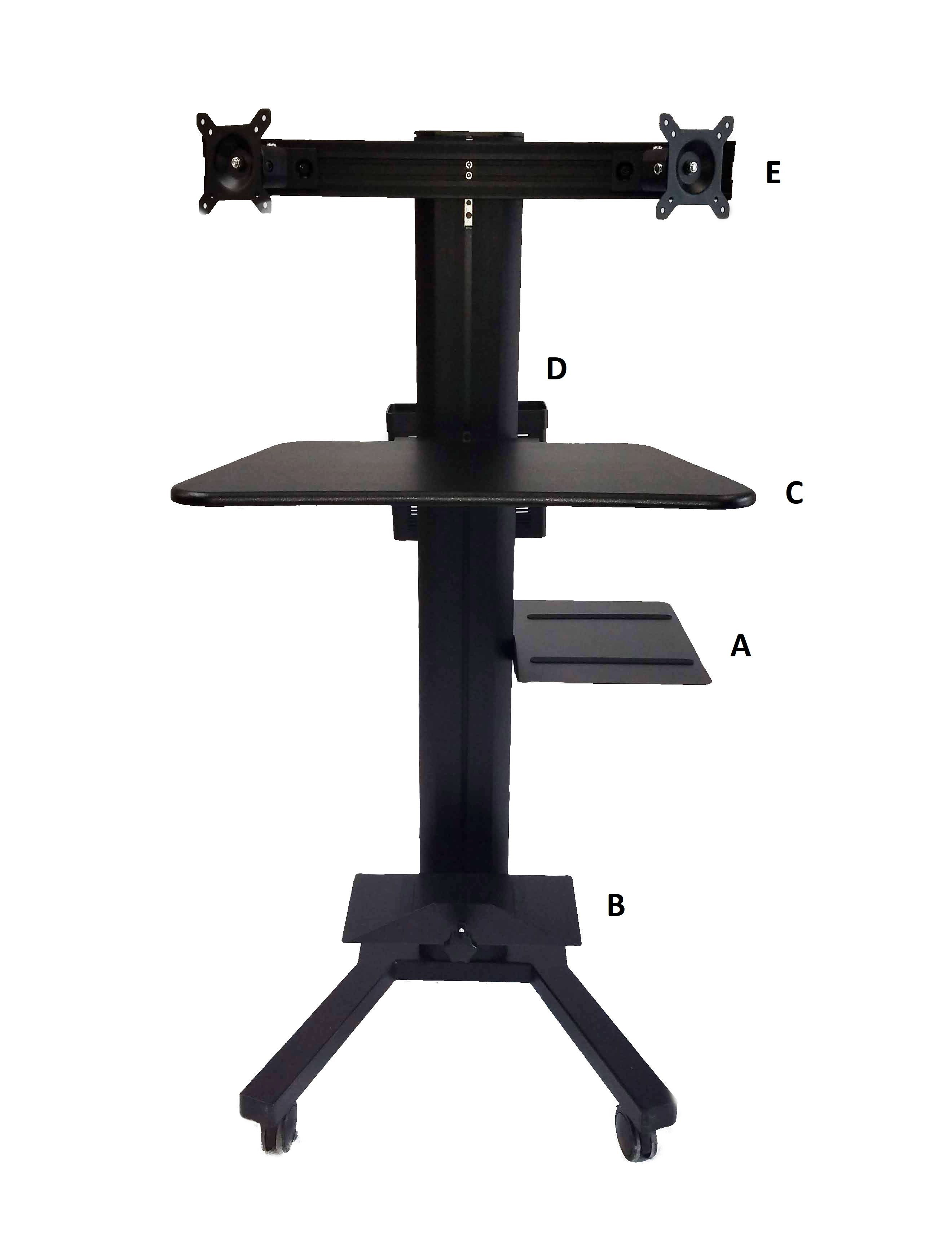 Adjustable Height Dual Monitor Mobile Telemedicine Computer Stand