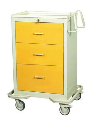 Aluminum 3 Drawer Isolation Cart w/ Single Key Lock