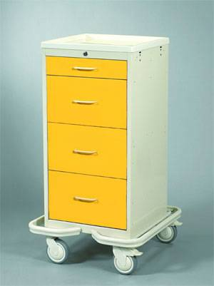 Aluminum 4 Drawer Mini Tower Isolation Cart w/ Single Key Lock
