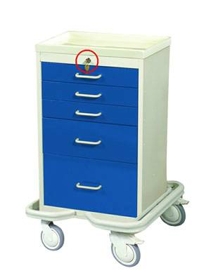 Aluminum 5 Drawer Mini Tower w/ Single Key Lock