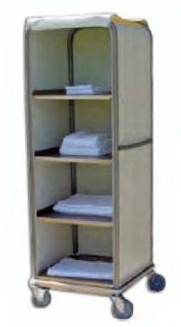 Aluminum Enclosed Clean Linen Cell Cart - 4 Shelves