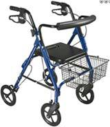 Blue Aluminum Rollator Removable Wheels