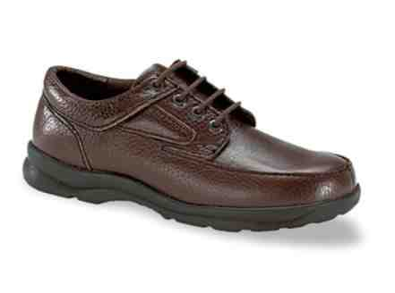 Mens Diabetic Shoes Moc Toe Brown Leather Lace-Up