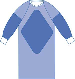 Sterile Fabric-Reinforced Surgical Gowns Raglan Sleeves 50in