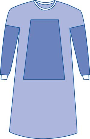 Sterile Fabric-Reinforced Surgical Gowns Set-in-Sleeves Large 43in